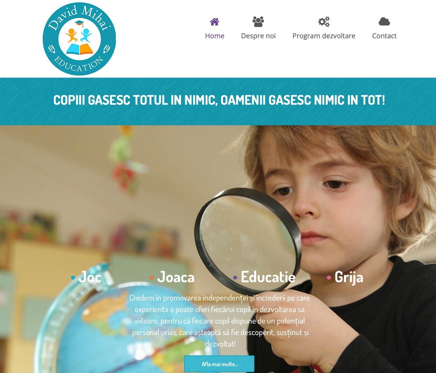Site de prezentare al gradinitei David Mihai.