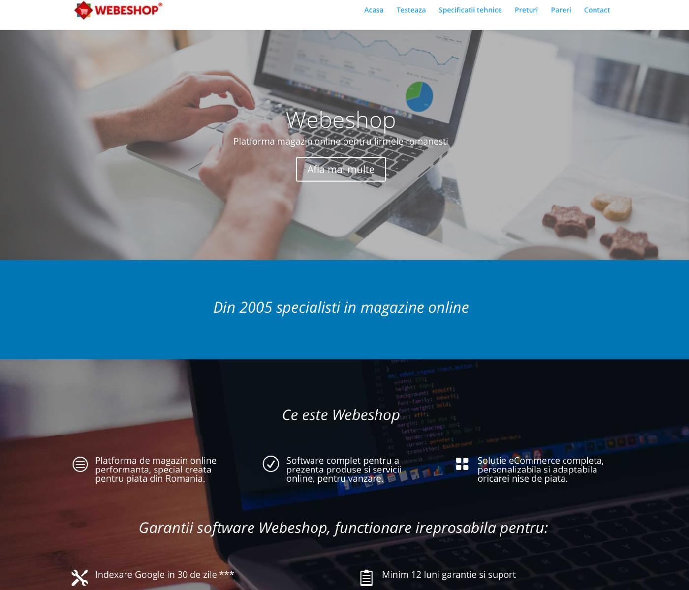 Site de prezentare si demo al platformei Webeshop.